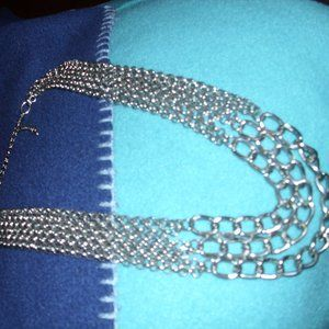 silver tone chain link necklace